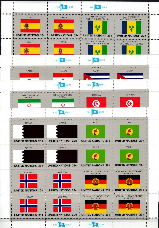 United Nations #528-43 MNH Flag Sheets CV $28.80 (X2297L)