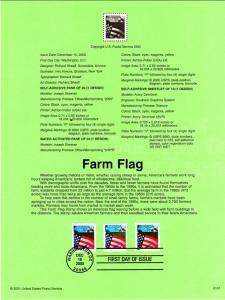 US SP1379 Farm Flag 3448-3450 Souvenir Page FDC