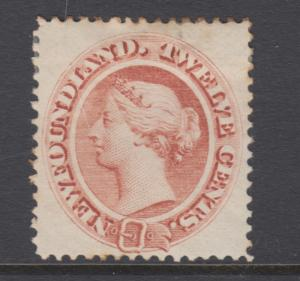 Newfoundland Sc 28 MLH. 1865 12c red brown Queen Victoria, few toned perf tips