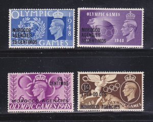 Great Britain Offices In Morocco 95-98 Set MNH Surcharges (A)
