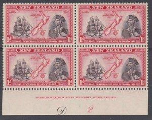 NEW ZEALAND 1940 Centenary 1d Captain Cook plate block MNH CP cat NZ$40.....L513
