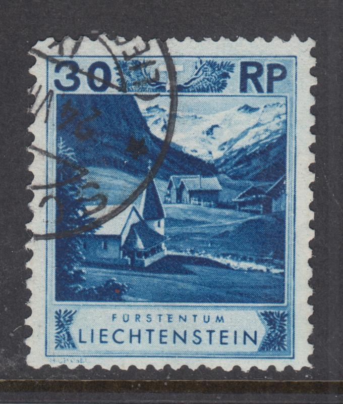 Liechtenstein Sc 99a used 1930 30r ultra Chapel, perf 11½x10½ Forgery