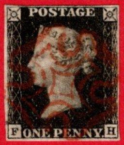 GBR SC #1 U (F,H) 1840 Queen Victoria w/red MC 4 margin w/flts CV $390.00