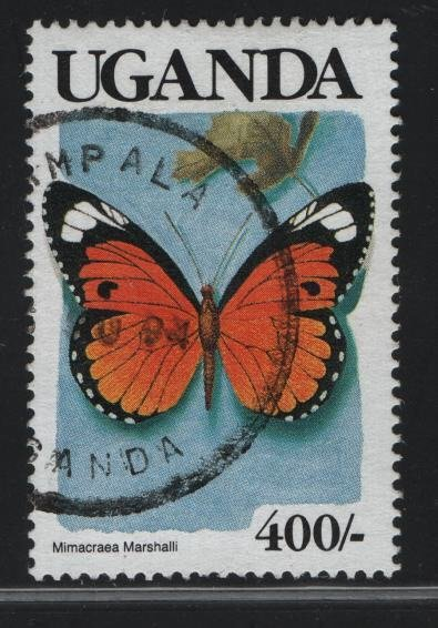 UGANDA  714,  USED, 1989 Butterfly type
