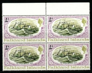 FALKLAND ISLANDS SG259w 1970 4d SS GREAT BRITAIN WMK CROWN TO RIGHT BLK OF 4 MNH