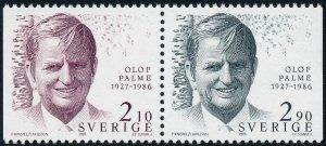Sweden 1986 Olof Palme (Prime Minister) Pair SG1295-1296 MNH