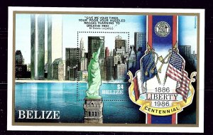 Belize 819 MNH 1986 Stature of Liberty  S/S
