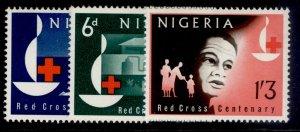 NIGERIA QEII SG135-137, complete set, NH MINT.