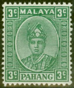 Pahang 1941 3c Green SG31 V.F Very Lightly Mtd Mint