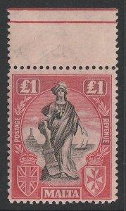 MALTA : 1922 Allegorical £1, wmk script sideways. MNH **.