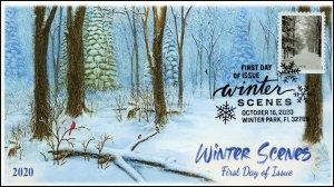 20-250, 2020, Winter Scenes, FDC, Pictorial Postmark, Snowy Path