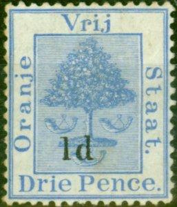 Orange Free State 1890 1d on 3d Ultramarine SG55 Type B Fine Mtd Mint