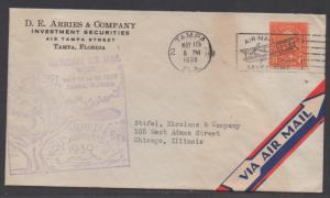 **US 20th Century Airmail Cover, SC# 638, Tampa, FL 5/18/1938, Natl Airmail Week
