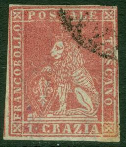 EDW1949SELL : ITALIAN STATES Tuscany 1857 Scott #12 VF Used. Nice stamp Cat $950