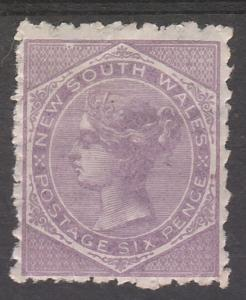 NEW SOUTH WALES 1882 QV 6D WMK CROWN/NSW SG TYPE W40 PERF 10