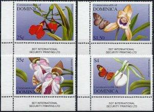 2004 Dominica Butterflies, Papillons, Flowers, Orchids complete set VF/MNH!