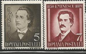 ROMANIA 491-492, HINGED, PAIR OF STAMPS, MIHAIL EMINESCU, 1889