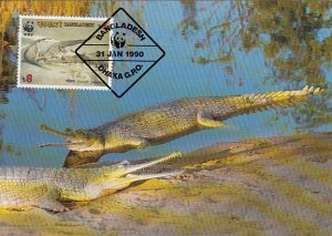 Bangladesh 1990 Maxicard Sc #342 8t Gravial crocodile WWF
