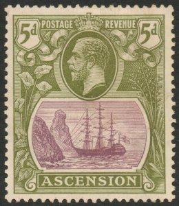 ASCENSION-1927 5d Purple & Olive-Green Sg 15d MOUNTED MINT V38027