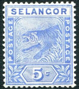 SELANGOR-1892 5c Blue Sg 52 MOUNTED MINT V23930