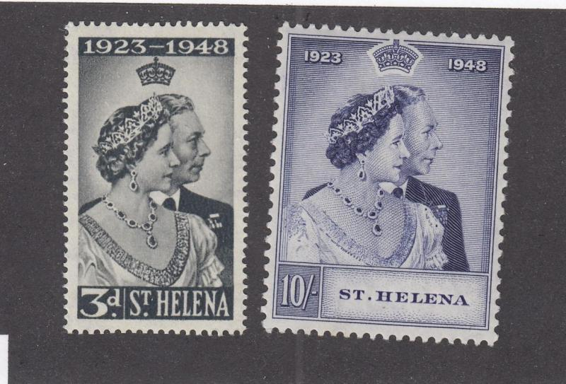 ST HELENA # 130-131 VF-MXLH 1948 SILVER WEDDING ISSUES