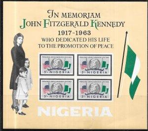 Nigeria #161a  5sh J.F.K. S/S (MNH)   CV $7.50