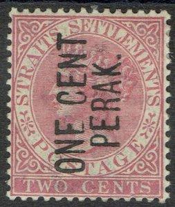 PERAK 1886 QV ONE CENT PERAK ON 2C TYPE 23