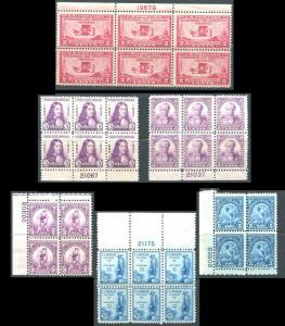 Plate Block Collection, 649, 718, 719, 724, 725, 734 Mint Hinged Fine-Very Fine