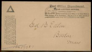USA 1891 Post Office Dead Letter Office Penalty Cover Washington DC 86515