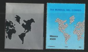 M) 1986 MEXICO, PRINTING PLATE, MAP OF THE WORLD, WITH SMALL WHITE ENVELOPES AS