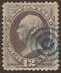 151 Used F/VF, 12c. Clay, Blue Cancel, scv: $245