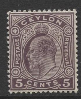 CEYLON -Scott 197- KEVII - Definitive- 1908- Wmk 3 - MNH -Single 5c Stamp