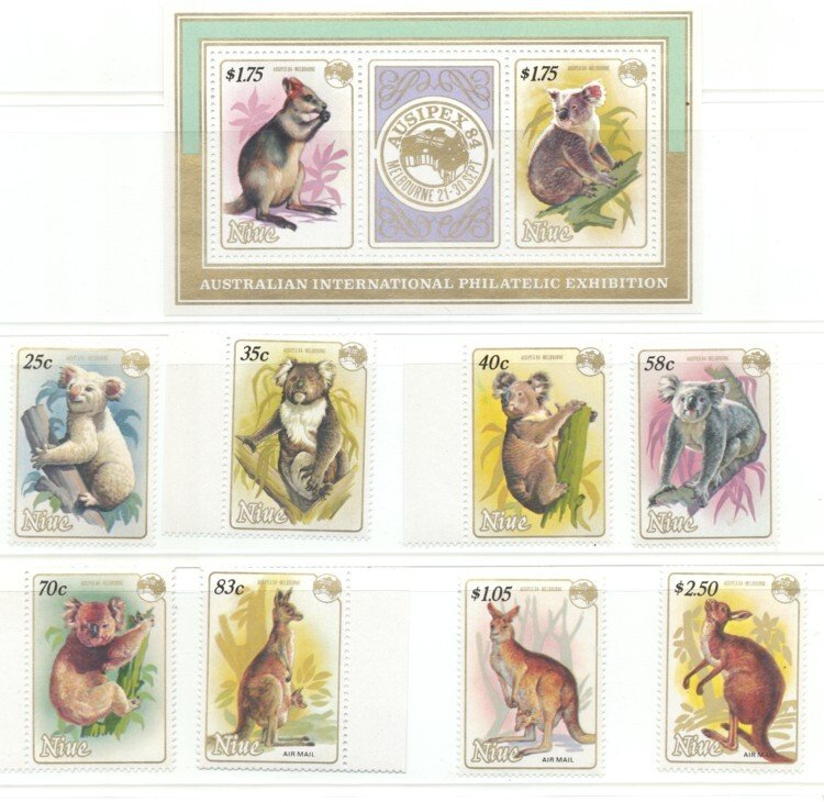 Niue Sc 437-44, 445 1984 Ausipex stamp set & Sheet mint NH