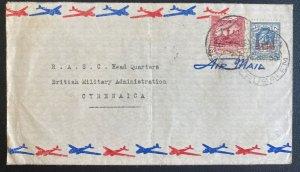 1950 Jerusalem Palestine TransJordan Airmail Cover To British Military Cyrenaica