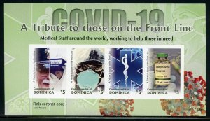 DOMINICA PANDEMIC A TRIBUTE TO THOSE ON THE FRONT LINE IMPERFORATE SHEET MINT NH