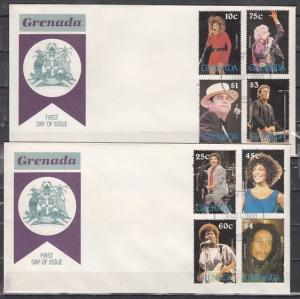 Grenada, Scott cat. 1673-1680. Popular Singers issue. 2 First day covers.