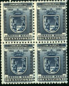 MEXICO 722, 10c Arms of Chiapas. Block of four. Mint NH(380)