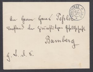 Germany 1910 Stampless Official cover, Munchen - Bamberg, Bavaria Seal