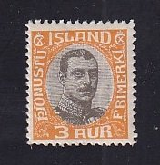 Iceland    #O40  MH   1920  Christian X   3a   centre in grey-black