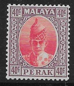 MALAYA PERAK SG117 1938 40c SCARLET & DULL PURPLE MTD MINT