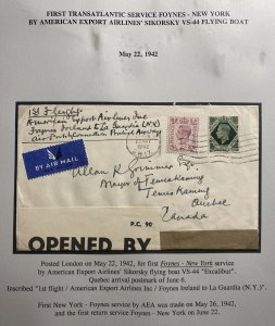 1942 England Airmail Censored First Trans Atlantic Flight Cover to Quebec Canada