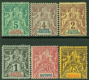 EDW1949SELL : FRENCH GUIANA 1892-1904 Scott #46, 48 VF MNH Also others Cat $80