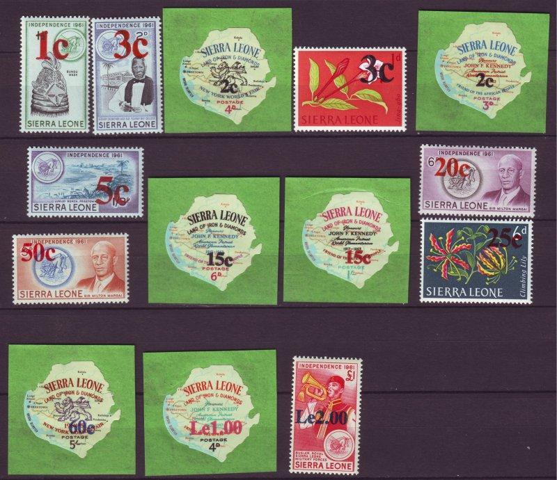 J24464 JLstamps 1965 sierra leone set mnh #286-99 ovpt,s