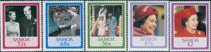 Samoa 1986 SG726-730 QEII birthday set MNH