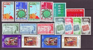 J22150 Jlstamps 5 1950,s-70,s barbados set mnh/mh #230-up