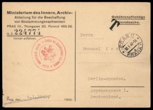 3rd Reich Germany 1941 Bohemia Moravia Ministry Interior Aryan Proof Cover 89563