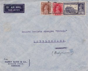 India 8a KGVI Mail Truck and 1a and 1/2a KGVI c1938 [Karachi] Airmail to Lode...