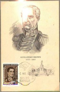 90124 - ARGENTINA - Postal History - FDC MAXIMUM CARD - Guillermo BROWN navy war