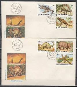 Romania, Scott cat. 3845-3850. Dinosaurs on 2 First Day Covers.