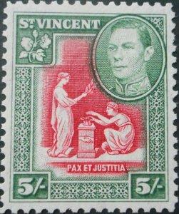 St Vincent 1938 GVI Five Shillings SG 158 mint